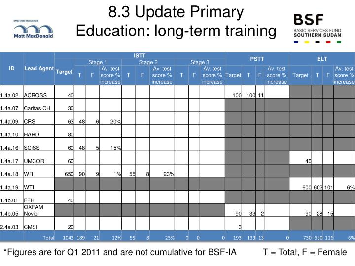 8.3 Update Primary Education: long-term training