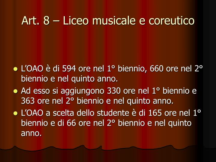 Art. 8 – Liceo musicale e coreutico