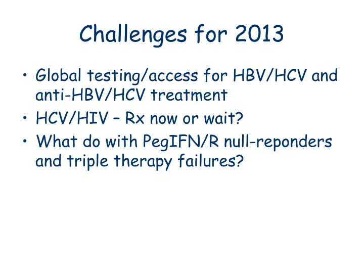 Challenges for 2013