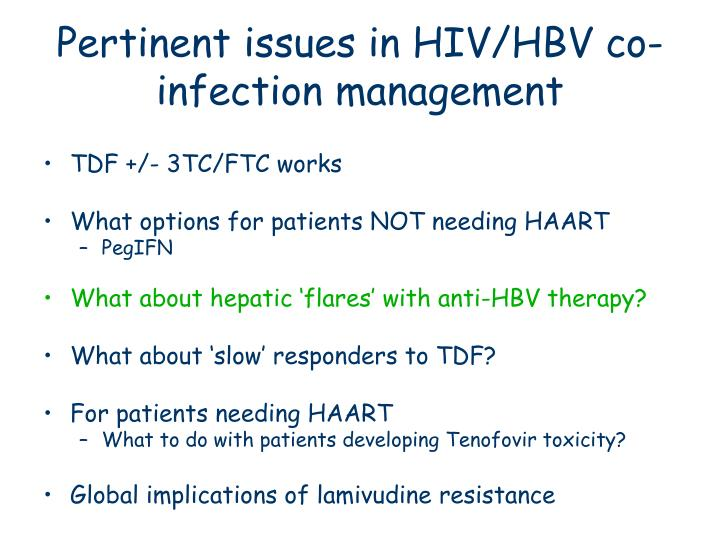 Pertinent issues in HIV/HBV co-infection management