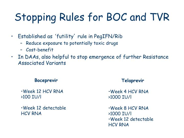 Stopping Rules for BOC and TVR