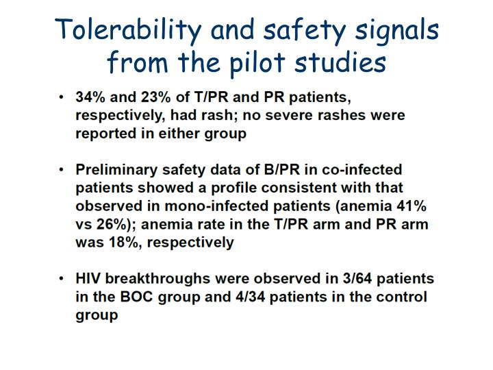 Tolerability and safety signals from the pilot studies