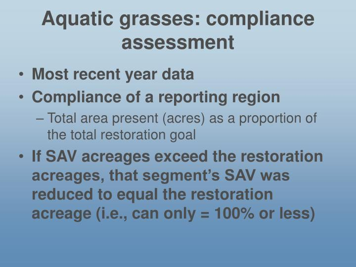 Aquatic grasses: compliance assessment