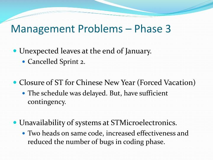 Management Problems – Phase 3