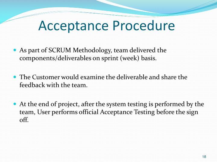 Acceptance Procedure