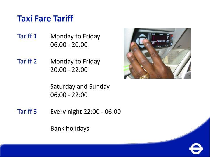 Taxi Fare Tariff