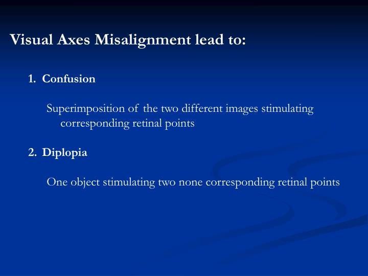 Visual Axes Misalignment lead to: