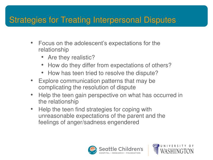 Strategies for Treating Interpersonal Disputes