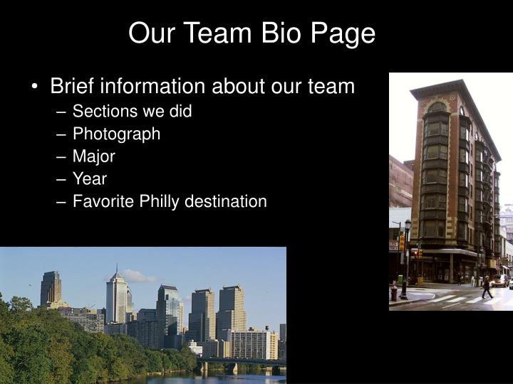 Our Team Bio Page