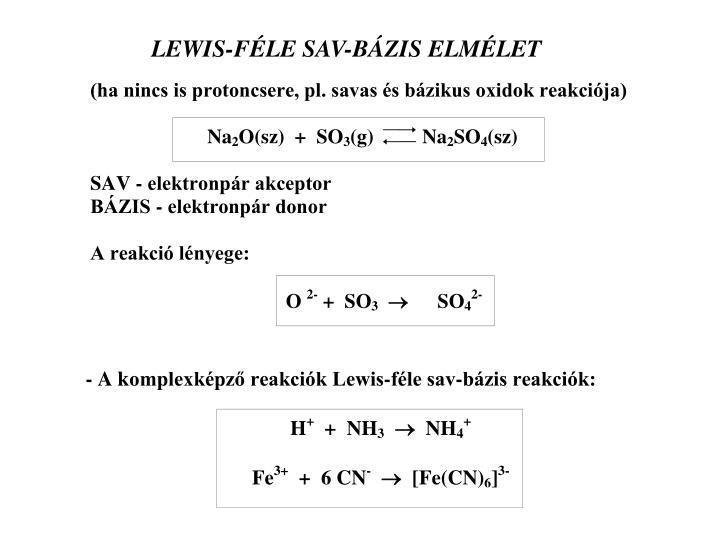 LEWIS-FÉLE SAV-BÁZIS ELMÉLET