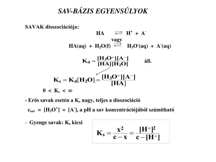 SAV-BÁZIS EGYENSÚLYOK