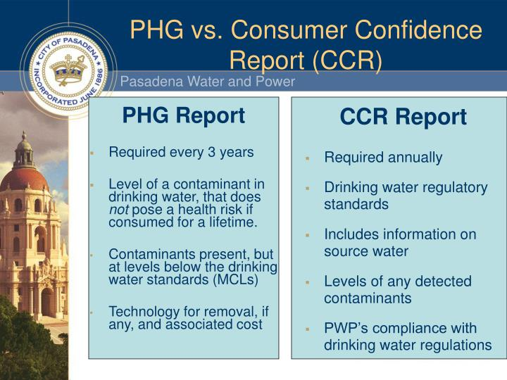 PHG vs. Consumer Confidence Report (CCR)