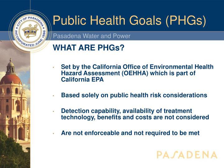 Public Health Goals (PHGs)