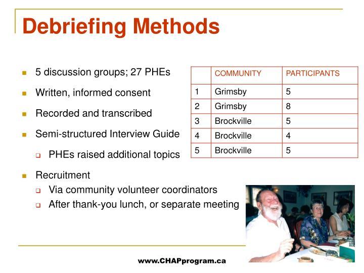 Debriefing Methods