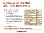 developing the phe role chap in 20 communities