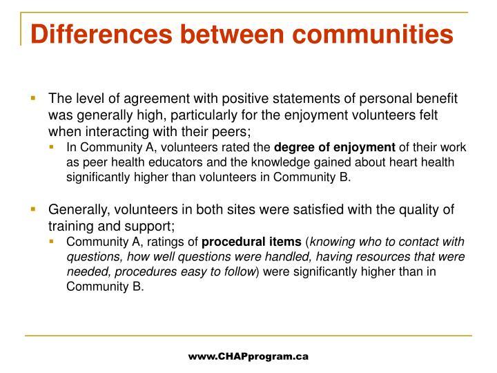 Differences between communities
