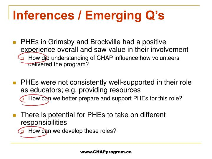 Inferences / Emerging Q's