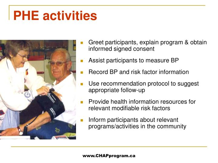 PHE activities