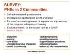 survey phes in 2 communities