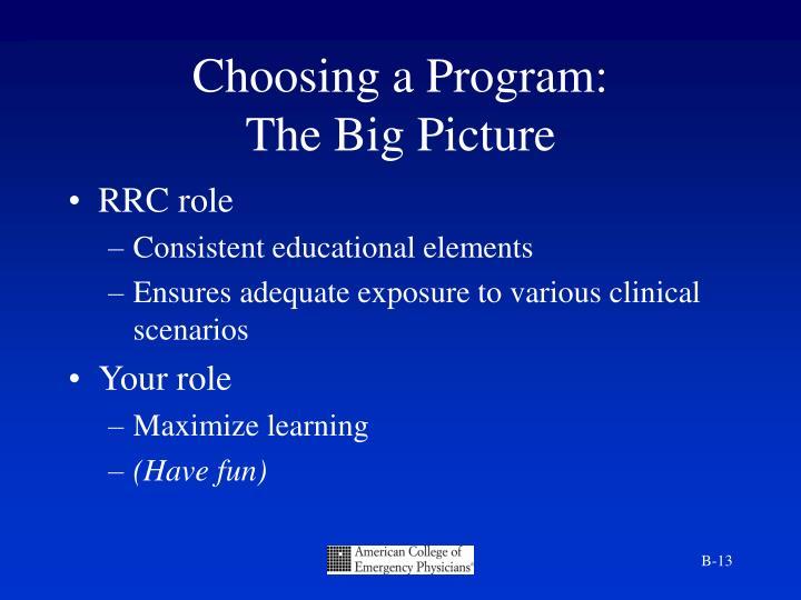 Choosing a Program: