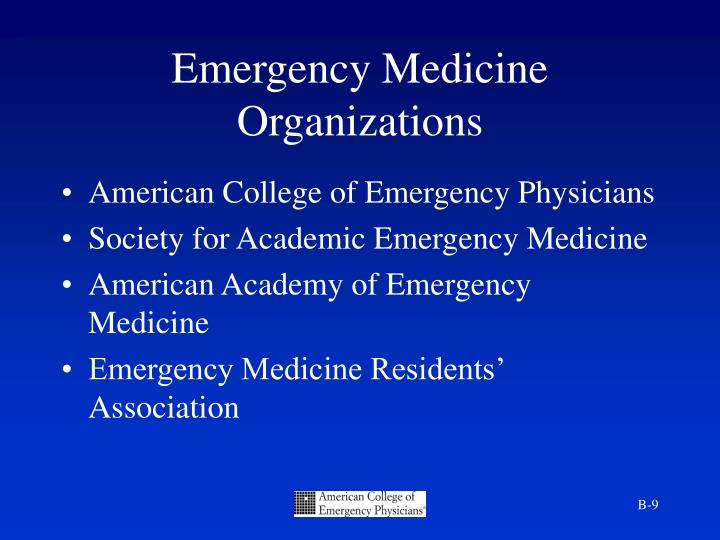 Emergency Medicine Organizations