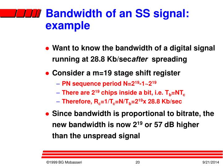 Bandwidth of an SS signal: example