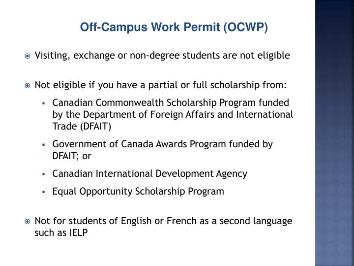 Off-Campus Work Permit (OCWP)