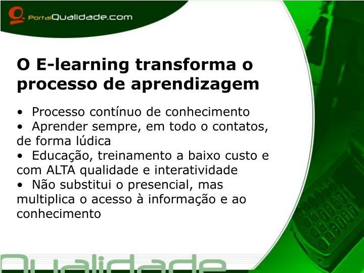 O E-learning transforma o processo de aprendizagem