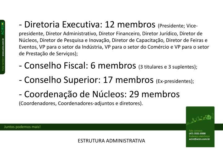 - Diretoria Executiva: 12 membros