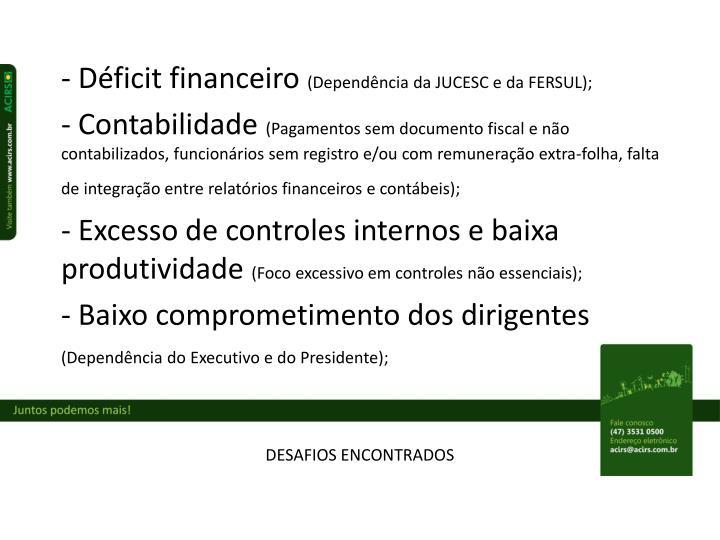 - Déficit financeiro