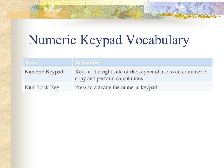 Numeric Keypad Vocabulary