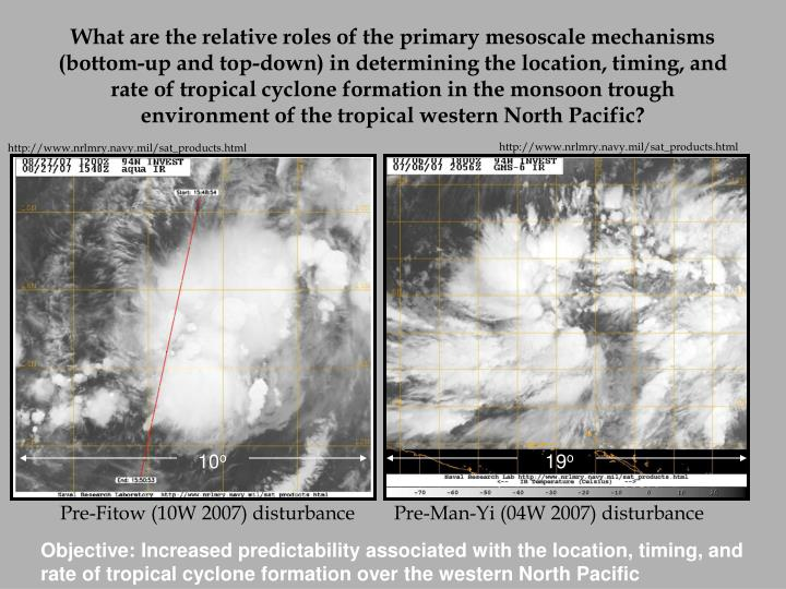 What are the relative roles of the primary mesoscale mechanisms (bottom-up and top-down) in determining the location, timing, and rate of tropical cyclone formation in the monsoon trough environment of the tropical western North Pacific?