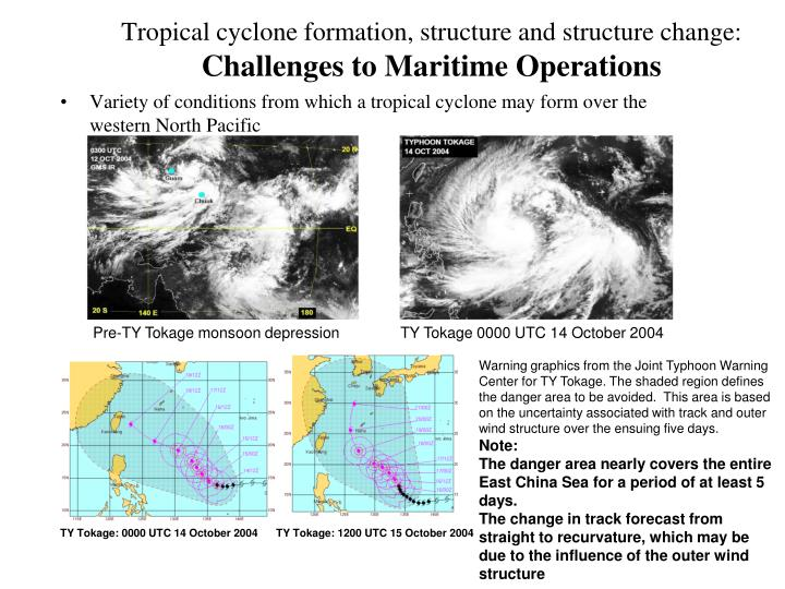 Tropical cyclone formation structure and structure change challenges to maritime operations