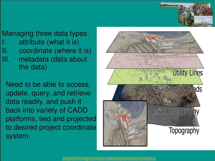 Managing three data types: