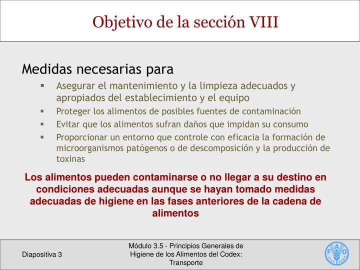 Objetivo de la sección VIII