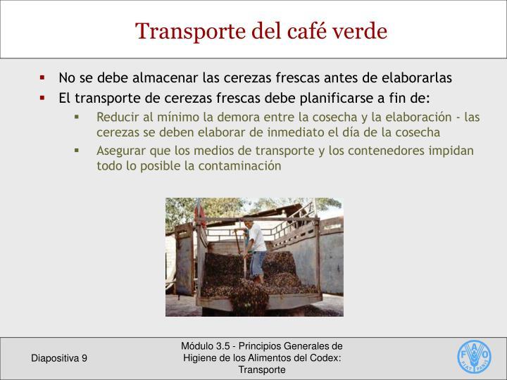 Transporte del café verde