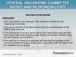 central organizing committee duties and responsibilities