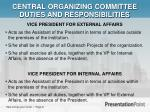 central organizing committee duties and responsibilities1
