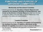 functions and purpose of different committees