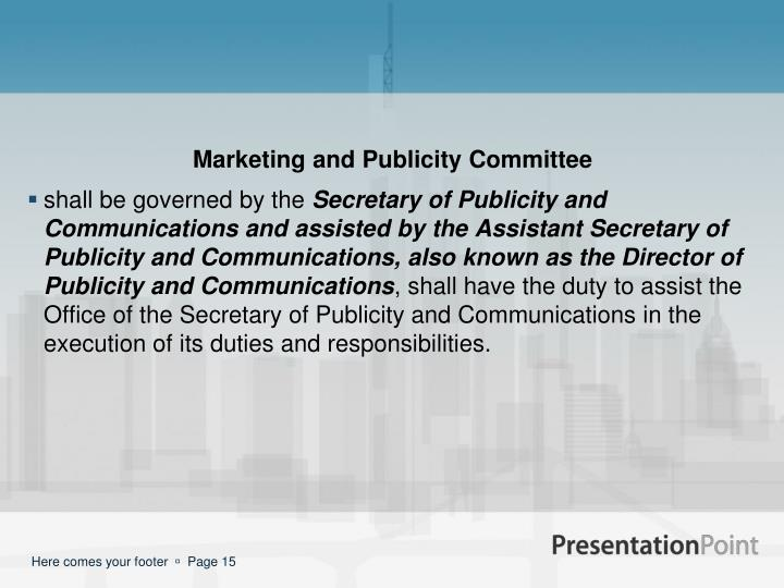 Marketing and Publicity Committee