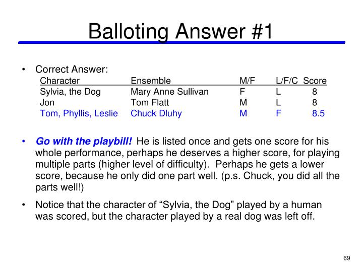 Balloting Answer #1