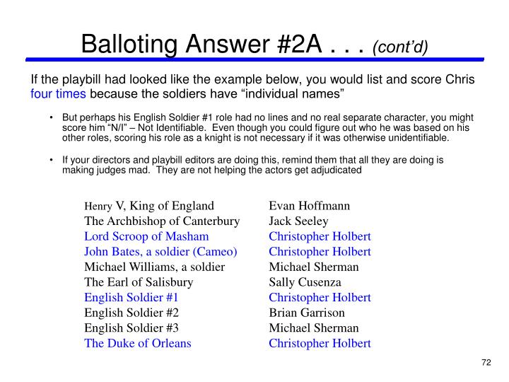 Balloting Answer #2A . . .