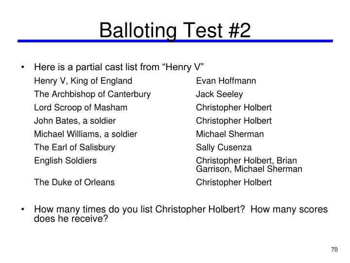 Balloting Test #2