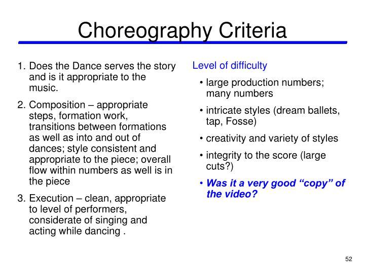 Choreography Criteria