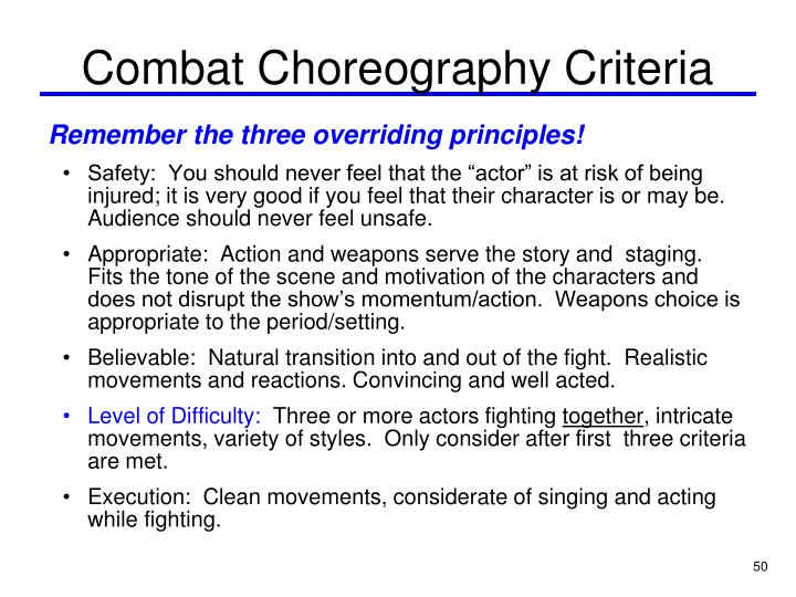 Combat Choreography Criteria