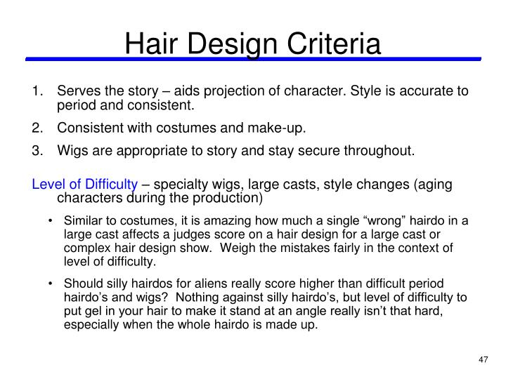 Hair Design Criteria