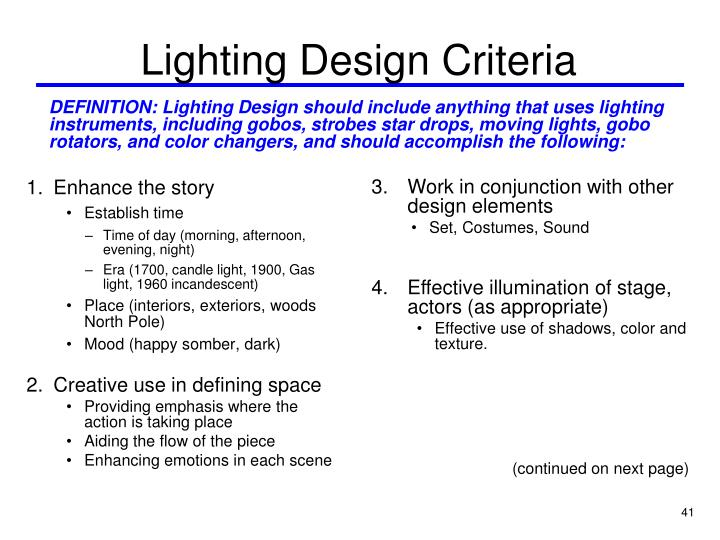 Lighting Design Criteria