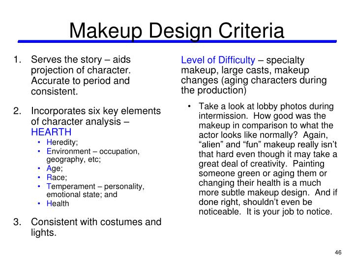 Makeup Design Criteria