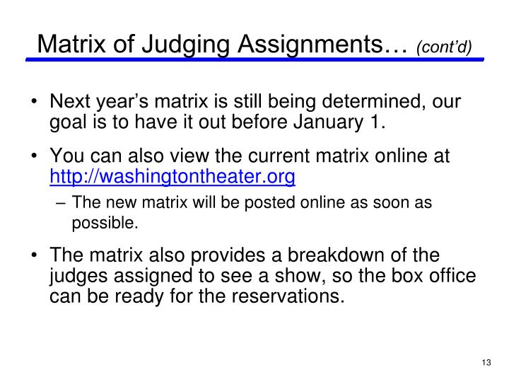 Matrix of Judging Assignments…