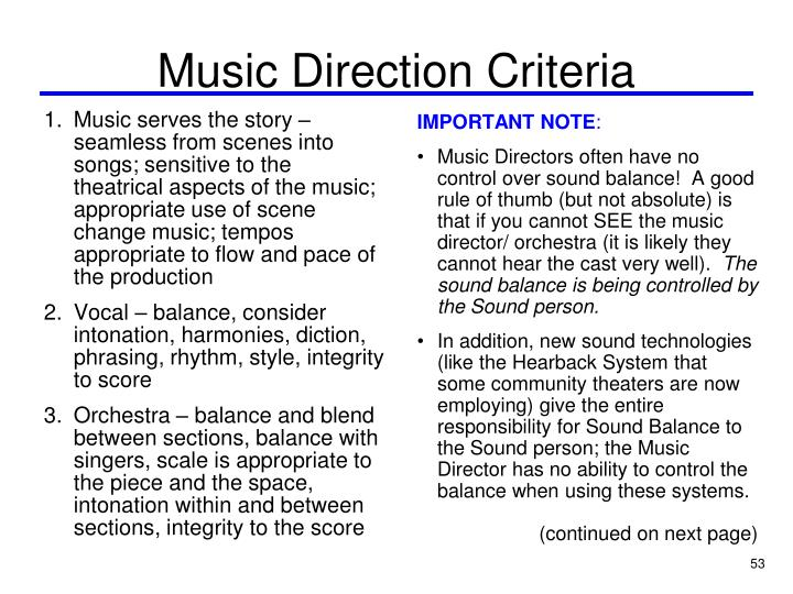 Music Direction Criteria